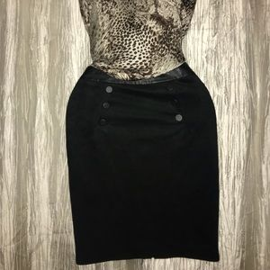 High waste black velvet skirt